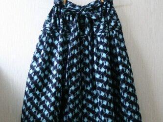 綿 絣 ギャザースカート SMサイズの画像