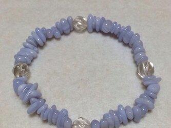 ブルーレースアゲート・水晶 パワーストーン ブレスレットの画像