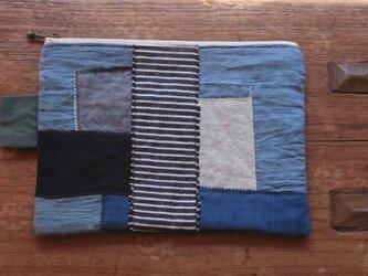 M様専用 外ポケット付き配色ポーチ ブルー  の画像