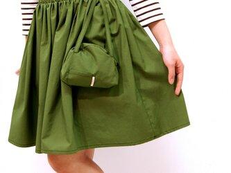 ポーチ付きギャザースカート♡(グリーン)の画像