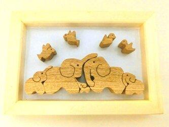 鳥と象(組み木)の画像