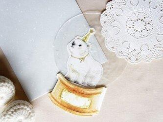 シロクマのスノードームカードの画像