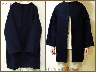 【送料無料】濃紺♪ コクーン コートの画像