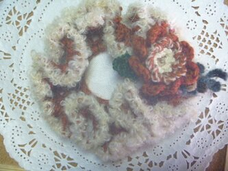 【sold】イタリア製モヘアとウールのお花シュシュ♪コサージュの画像