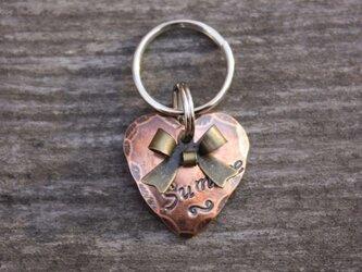 迷子札MD337 銅製 ハートの迷子札 リボンのチャーム付の画像