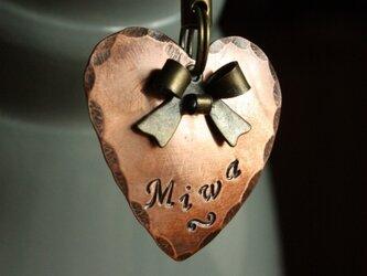 迷子札MD336 銅製 ハートの迷子札 リボンのチャーム付の画像