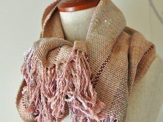 H様お取り置き作品 手織り「パールピンクの大判ショール」 (絹100%)の画像