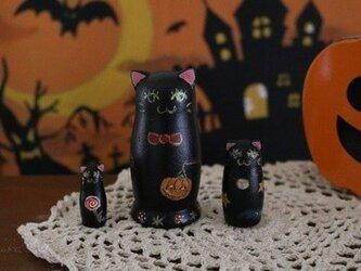 ハロウィンの黒猫マトリョーシカ(再販)の画像