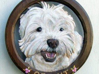 ペットの肖像レリーフ大(サークル型/オーダーメイド)の画像
