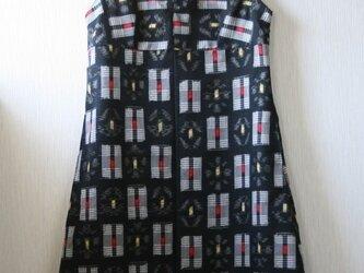 ウール 黒チェック ノースリーブワンピース Mサイズの画像