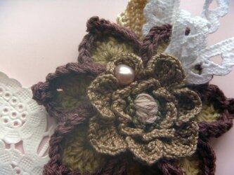 コットンリネンのお花ダリア♪ナチュラルの画像