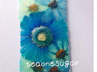 新作iPhone6/ターコイズブルー押し花の画像