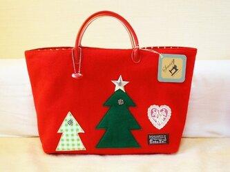 絵本の様なフェルトバッグ★クリスマス・赤の画像