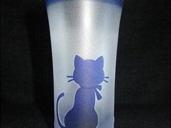 【サンドブラスト彫刻】被せ一口ビールグラス マフラーを纏った猫の画像