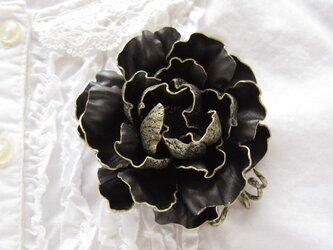 革のコサージュ オールドローズ(ブラック)の画像