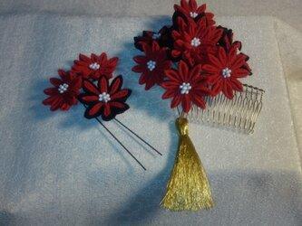 つまみ細工の髪飾り(2点セット)の画像