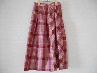 格子柄紬のスカートの画像