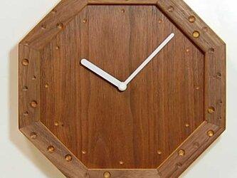 壁掛け八角時計 ウォールナット の画像