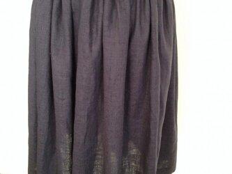 【Y様オーダー品】リネンのギャザースカート ネイビーの画像