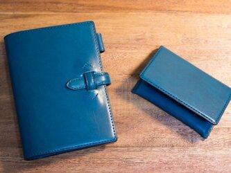 【オーダー品】革のミニ6システム手帳と名刺入れ ブルーの画像