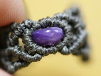 チャロアイトのマクラメ編み 天然石リングの画像