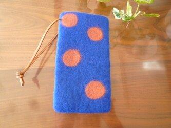 羊毛フェルトのスマホケース(ブルー×サーモンピンク)iphone6の画像