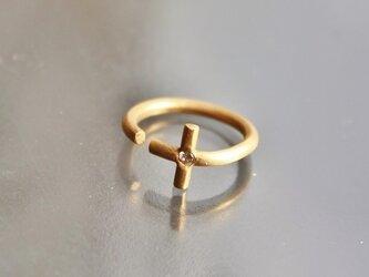 minimal open cross ring K18 Diaの画像