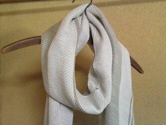 手織り 大判コットンストール4 ライトグレー ストライプの画像