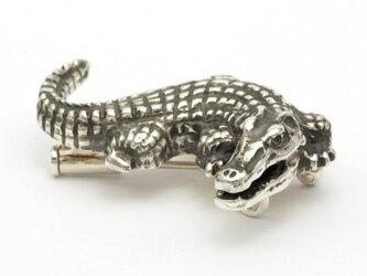 ワニブローチ『クロコダイル』純銀(Ag999)×ブラックダイヤモンドの画像