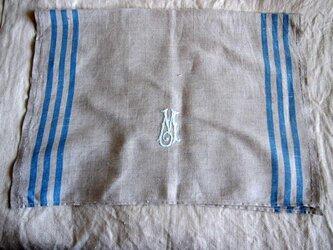 イニシャル刺繍のリネンのキッチンクロスの画像