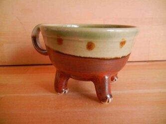 ニャンカップNo.1002:緑と茶のツートンドット柄の画像