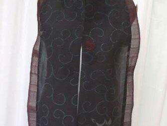 百合と唐草模様の絽からの単衣ストール 絹の画像