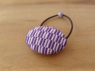 こぎん刺しのヘアゴム 紫色の画像