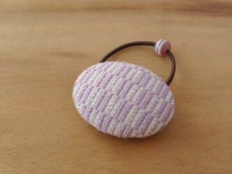 こぎん刺しのヘアゴム 薄紫色の画像