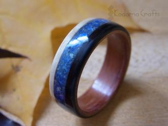 木の指輪~メープル&エボニー&ブビンガ×ラピスラズリ石~の画像