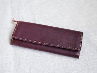 【受注生産】ラクダ革のシンプルな長財布(マチ付小銭入れ)の画像