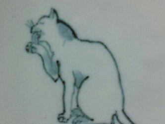 染付4寸猫皿 18の画像