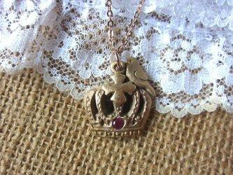 王冠と鳥【ブロンズネックレス】の画像