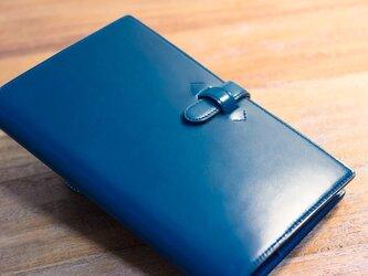 【バイブルサイズ】革のシステム手帳 ブルー(カラーオーダー可)の画像