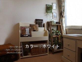無垢材の絵本の本棚wh/db選べる2color*wide60の画像