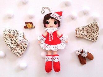 着せ替えフェルト人形根付NO.31(冬セット)の画像