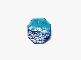 海と青海波 七宝焼きブローチ oppoの画像