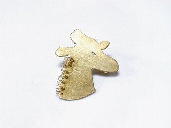 真鍮animal きりんのブローチの画像