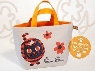 GuraGuri|ランチトートバッグ|オレンジの丸い猫の画像