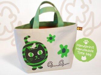 GuraGuri|ランチトートバッグ|グリーンの丸い猫の画像