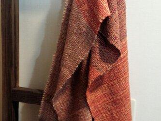 《手織り》あったかウールのマフラー オレンジ系の画像