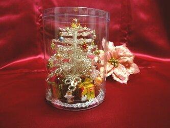 ビーズのクリスマスツリー(ホワイトG)サイズ(SS)の画像