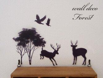 ウォールデコ 森と鹿と鳥の画像