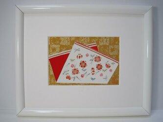 色紙に松竹梅手描きの京友禅染 絵のみの画像