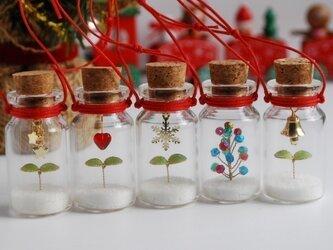 【受注制作】コルク瓶の中の小さなクリスマスワールド・オーナメントの画像